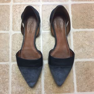 Madewell Gray Suede/Leather D'orsay Flats